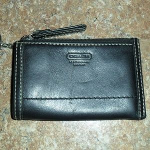 Coach Keyring Coin Card Wallet Black Leather EUC!